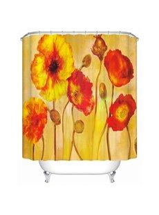 Oil Painting Corn Poppy Print 3D Bathroom Shower Curtain
