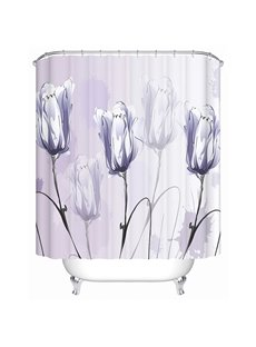 Hand-Painted Purple Tulip Print 3D Bathroom Shower Curtain