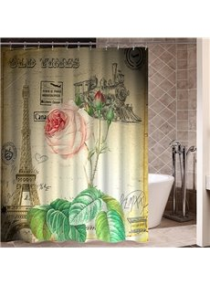 Retro Pink Rose in Paris Pattern Poster Print 3D Bathroom Shower Curtain