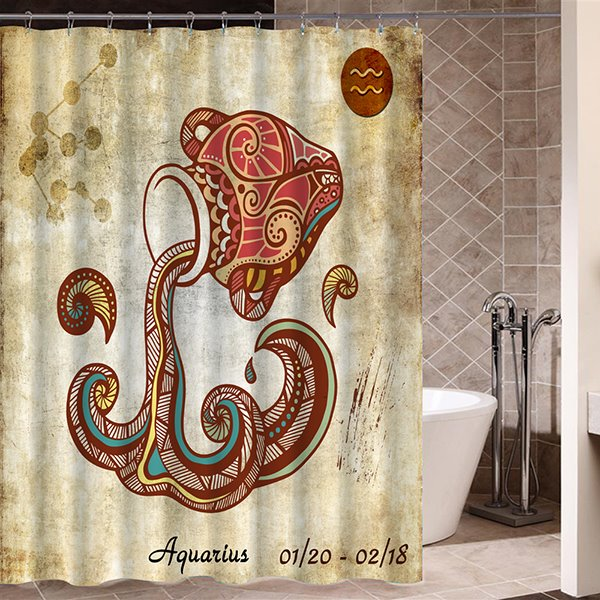 Exotic Aquarius Symbol Print 3D Bathroom Shower Curtain