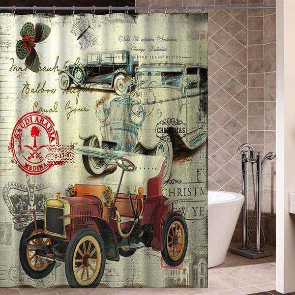 Old Pictorial Classic Car Print 3D Bathroom Shower Curtain