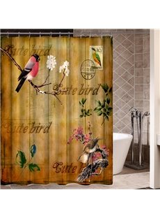 Magpie Standing on a Branch Retro Poster Print 3D Bathroom Shower Curtain