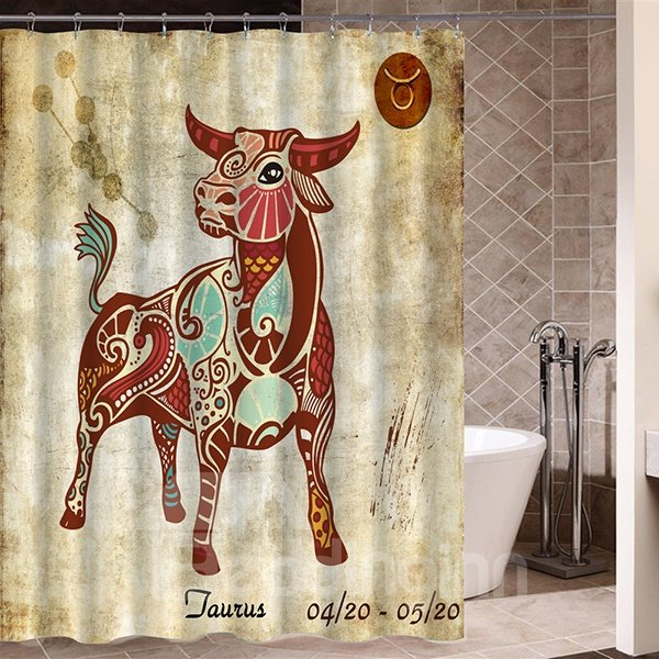 Exotic Taurus Symbol Print 3D Bathroom Shower Curtain