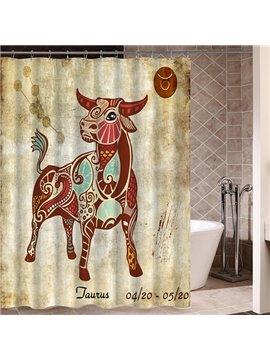 Exotic Taurus Symbol Print 3D Bathroom Shower Curtain