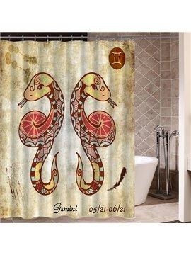 Exotic Gemini Symbol Print 3D Bathroom Shower Curtain