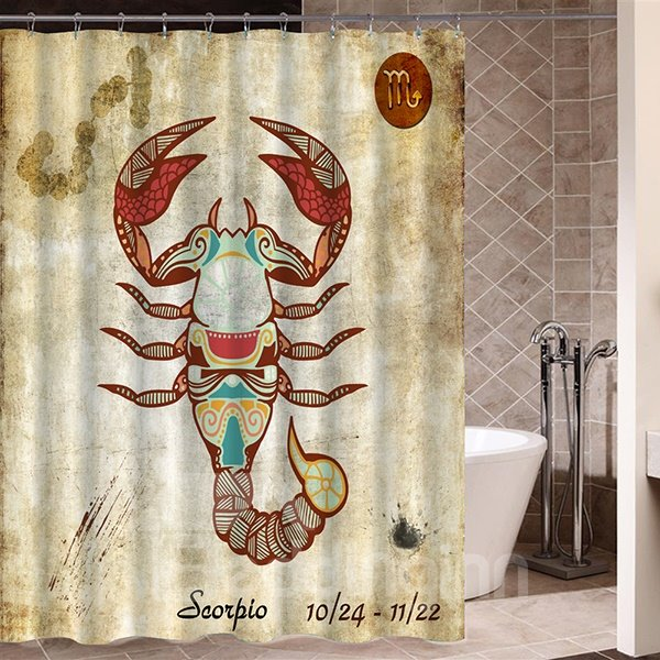 Exotic Scorpio Symbol Print 3D Bathroom Shower Curtain