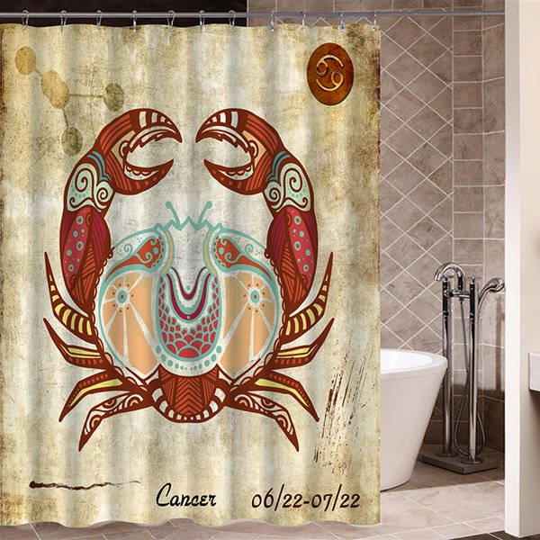 Exotic Cancer Symbol Print 3D Bathroom Shower Curtain