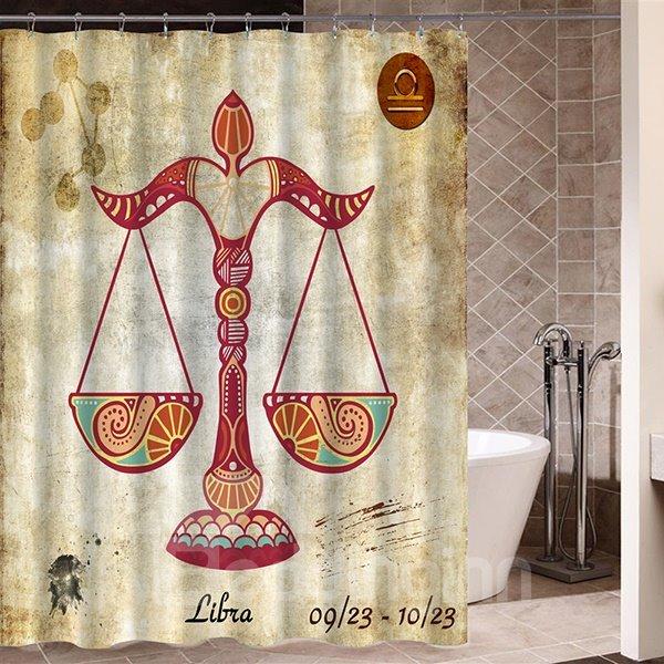 Exotic Libra Symbol Print 3D Bathroom Shower Curtain