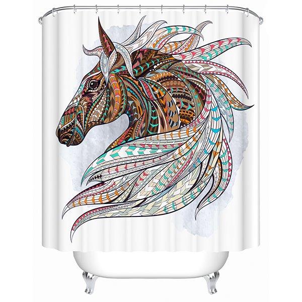 Color Draw Horse Print 3D Bathroom Shower Curtain