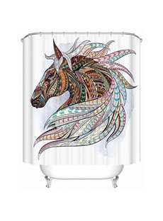 Color Draw Horse Print 3D Bathroom Shower Curtain