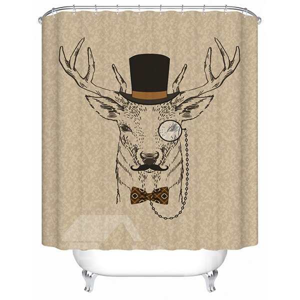 Clip Art Gentlemanly Deer Print 3D Bathroom Shower Curtain