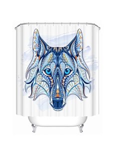 Chic Colored Wolf Illustration Print 3D Bathroom Shower Curtain