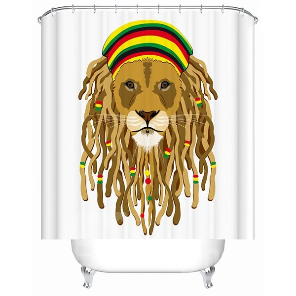 Clip Art Hip-Hop Lion Print 3D Bathroom Shower Curtain