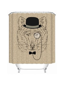 Clip Art Gentlemanly Bear with Black Hatter Print 3D Bathroom Shower Curtain