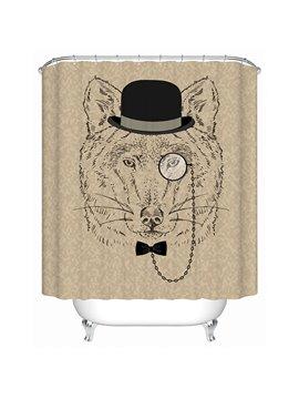 Clip Art Gentlemanly Bear with Black Hatter Print 3D Bathroom Shower Curtain