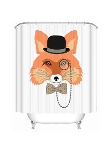Clip Art Gentleman Fox Print 3D Bathroom Shower Curtain