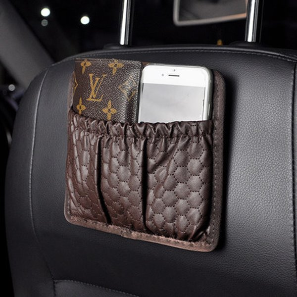Refinement Small Coffee PU Leather Material Backseat Organizer