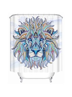 Colored Lion Illustration Print 3D Bathroom Shower Curtain