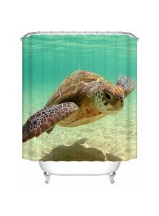 Sea Turtle Swimming at Deep Water Print 3D Bathroom Shower Curtain