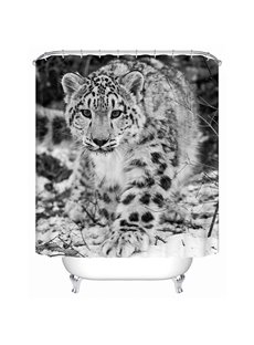 Cute Black and White Spots Leopard Print 3D Bathroom Shower Curtain