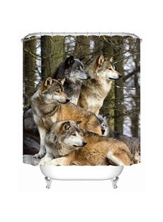 Wolf Pack Standing Print 3D Bathroom Shower Curtain