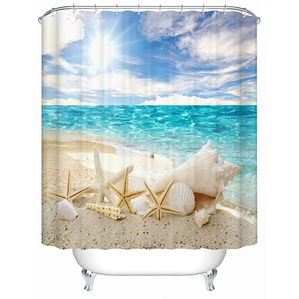 Starfish and Seashells in the Sun Print 3D Bathroom Shower Curtain