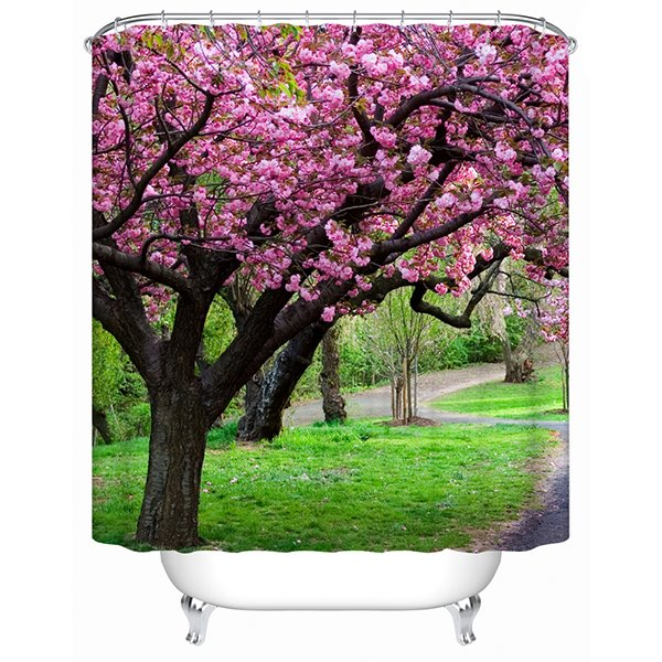 Beautiful Tree full of Pink Flowers Print 3D Bathroom Shower Curtain