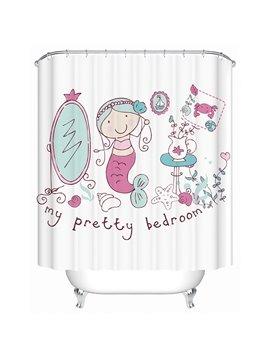 Cute Cartoon Mermaid Print 3D Bathroom Shower Curtain