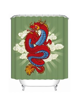 Mythical Chinese Red Dragon Print 3D Bathroom Shower Curtain