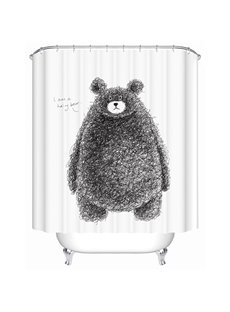 Cute Hand-Painted Cartoon Bear Print 3D Bathroom Shower Curtain