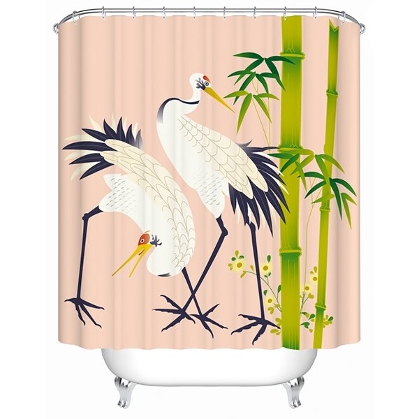 Chinese Style White Crane Print 3D Bathroom Shower Curtain