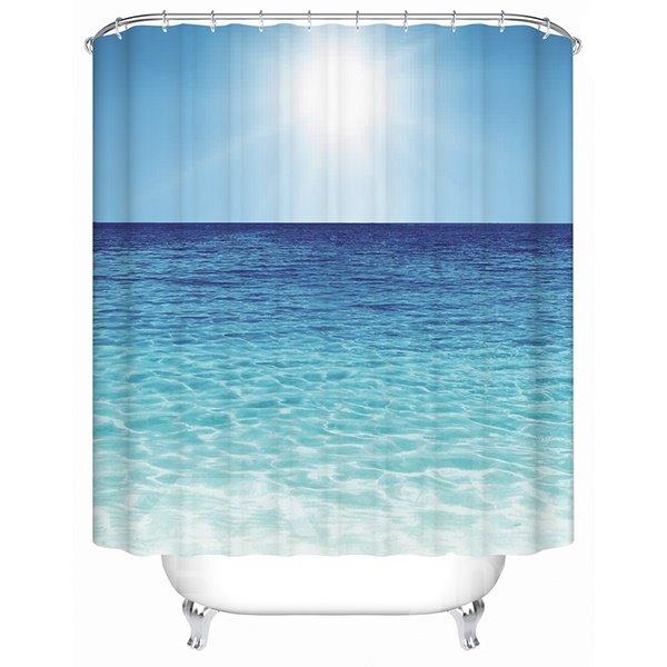 Vivid Blue Calm Sea Print 3D Bathroom Shower Curtain