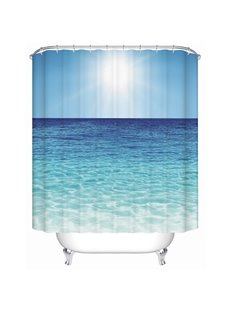Vivid Blue Calm Sea Print 3D Bathroom Shower Curtain