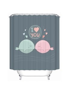Cartoon Romantic Fishes and Love Letter Print Bathroom Shower Curtain