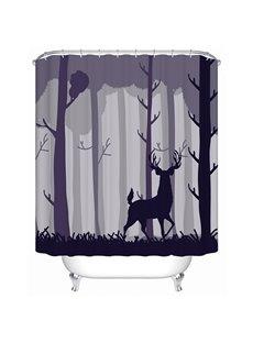 Dark Forest and Deer Print 3D Bathroom Shower Curtain