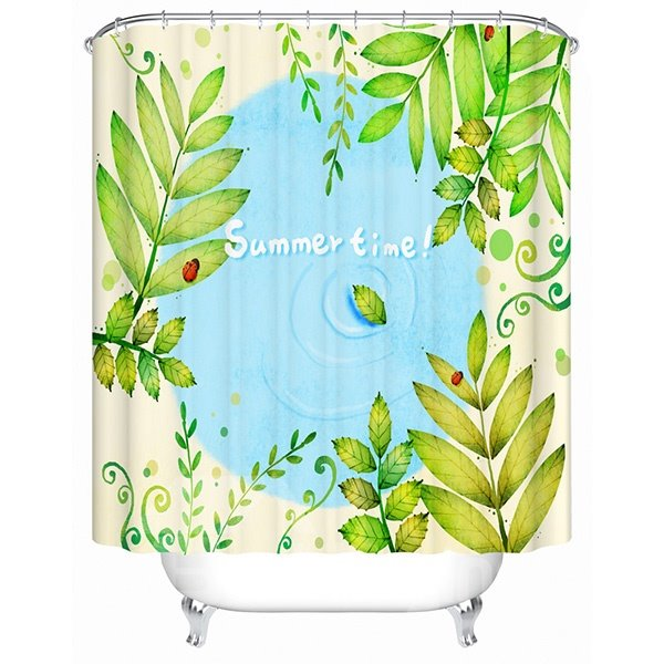 Green Leaves and Lake Summer Scenery Print 3D Bathroom Shower Curtain