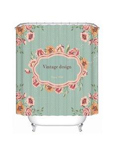 Simple Countryside Style Vintage Design Flowers Print 3D Bathroom Shower Curtain