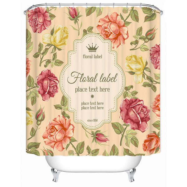 Colorful Floral Label and Crown Print 3D Bathroom Shower Curtain