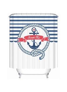 Blue Striation Mediterranean Style Print 3D Bathroom Shower Curtain