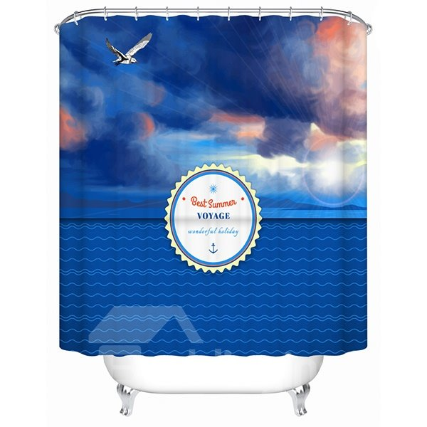 Beautiful Sunset and Voyage Scenery Print 3D Bathroom Shower Curtain