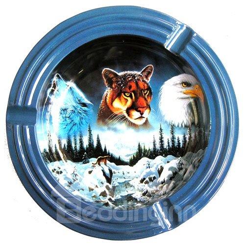 Wolf Tiger and Eagle 3D Baking Varnish Metal Cigarette Dish