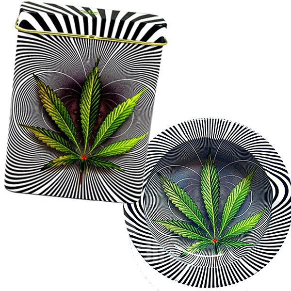 Green Leave and Zebra-stripe 3D Baking Varnish Metal Cigarette Case