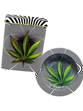 Green Leave and Zebra-stripe 3D Baking Varnish Metal Cigarette Case