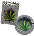 Green Leave and Zebra-stripe 3D Baking Varnish Metal Cigarette Case and Dish Set