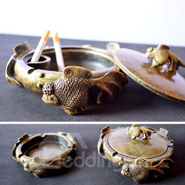 Vintage Antique Brass Cute Goldfish Swimming Ashtray