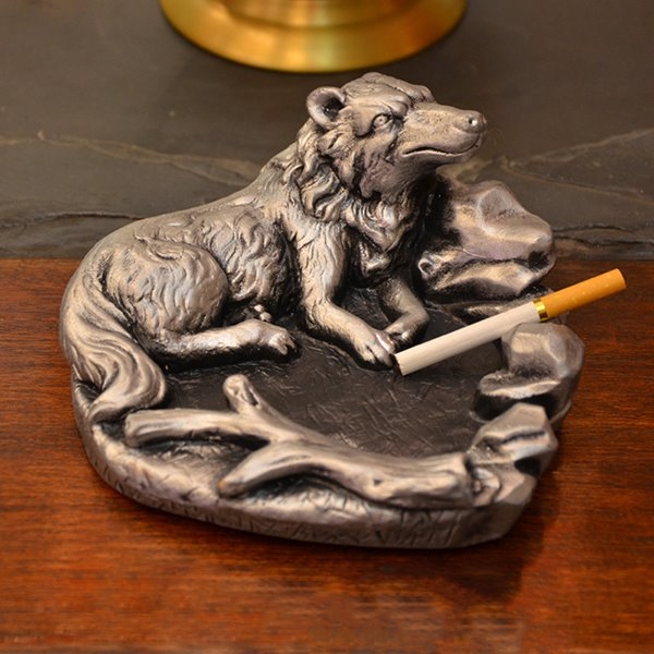 Very Popular Antique Brass Lone Wolf Ashtray