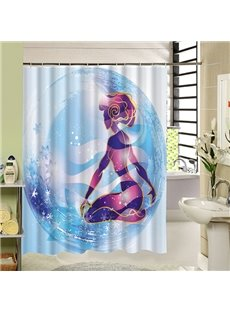 Hand-Painted Sexy Beauty in Blue Bubble Print 3D Bathroom Shower Curtain