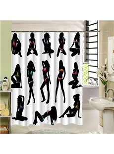 Various Sexy Woman Silhouette Print 3D Bathroom Shower Curtain