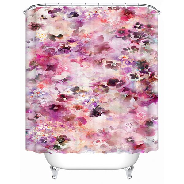Beautiful Peony Flower Sea Print 3D Bathroom Shower Curtain