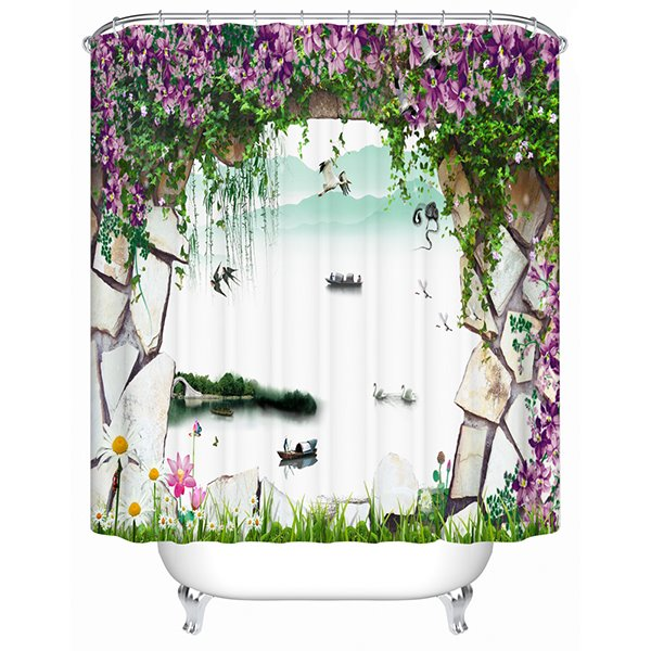 Natural Scenery outside the Wall Print 3D Bathroom Shower Curtain